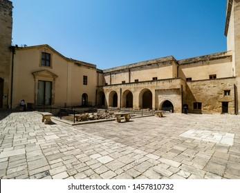 Lecce Castel with Fontana Dell'Armonia, Lecce, Puglia, Southern Italy, June 2019