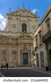 Lecce, Italy - 12.02.19: Facade of Baroque church Santa Irene - dedicated to city's former patron saint and modelled on Rome's Basilica di Sant'Andrea della Valle, this church was completed in 1639.