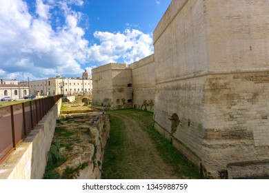 Lecce, Italy - 13.02.19: Mura Urbiche di Lecce shows the story of the city told by the walls that defended it. A set of ruins & testimonies that take you to ancient Lecce. Park area.