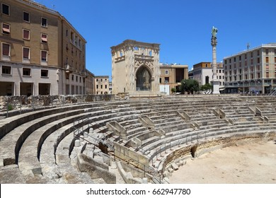 Lecce, Italy - ancient Roman Amphitheater. City in Salento peninsula.