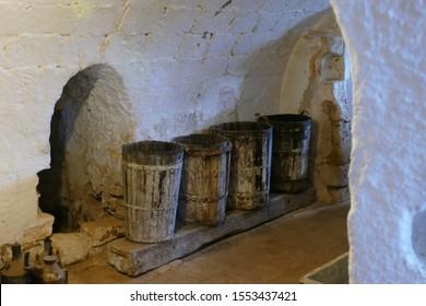 LECCE, ITALY - APR 9, 2019 - Barrels used for olive oil, Antica Masseria Brancati,Lecce, Puglia, Italy