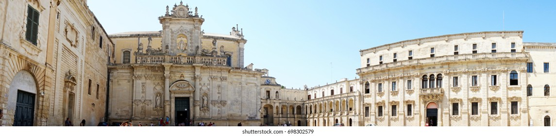 LECCE, ITALY - AUGUST 2, 2017: Panoramic view of Piazza del Duomo square with Lecce Cathedral and Museo diocesano d'arte sacra museum in Lecce, Italy