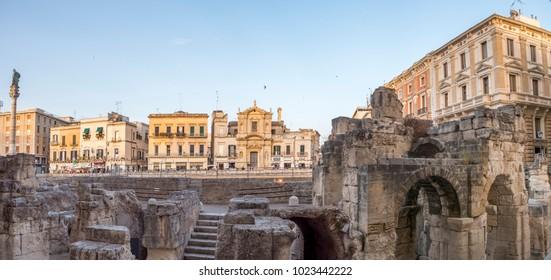 LECCE - ITALY, CIRCA JUN 2017: Panoramic view of old roman amphitheatre ruins in Lecce, Puglia - Italy