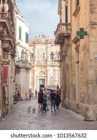 Lecce, Italy - CIRCA JUNE 2017: Classic cityscape during tour of Lecce, famous Italian baroque city in Salento, region of Puglia
