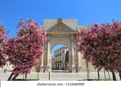 Lecce, Italy - city in Salento peninsula. Porta Napoli Triumphal Arch with oleander flowers.