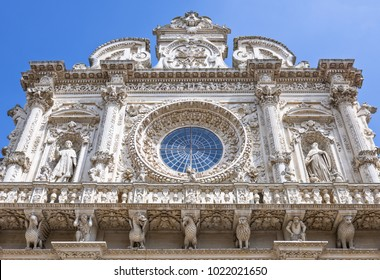 Lecce, Italy , detail of the full of sculpture facade of the Santa Croce Basilica