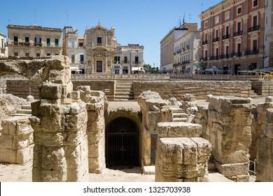Lecce, Italy - July 21 2016: Roman Amphitheatre in Lecce, Puglia (Apulia), southern Italy.