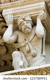 Lecce, Italy - March 13, 2015: Atlante of Hercules at the Basilica of Santa Croce in Lecce, Italy. Hercules represents the Grand Duke of Tuscany during the Battle of Lepanto (1571)