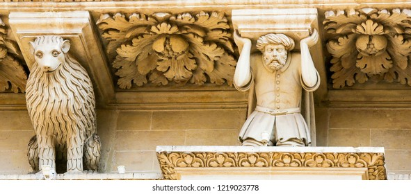 Lecce, Italy - March 13, 2015: Basilica of Santa Croce in Lecce, Apulia, Southern Italy. The figure represents a Turkish prisoner of war made by the Christian League at the Battle of Lepanto (1571).