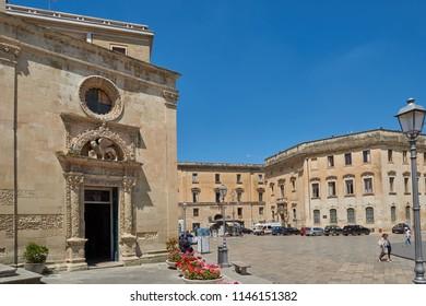 LECCE, ITALY. May 31, 2017. Roman amphitheater at Sant'Ornzos Square in Lecce, Apulia