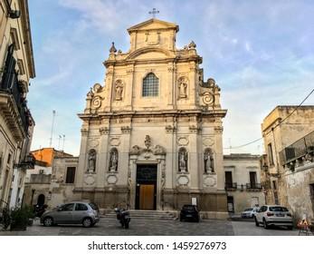 LECCE, ITALY - OCTOBER 24, 2016: The church of Saint Mary della Provvidenza (Chiesa delle Alcantarine) in Lecce at sunset