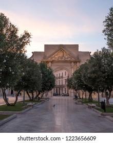 Lecce, Italy, September 2018. Porta Napoli, historic gate to the city of Lecce in Puglia, Southern Italy.