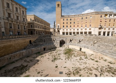 Lecce, Italy, September 2018. Remains of Roman amphitheatre in Piazza Sant'Oronzo, in the centre of the historic city of Lecce, Puglia, Southern Italy.