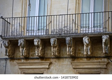 Lecce, Italy-September 14, 2015:The decor of balcony in Lecce, Italy.
