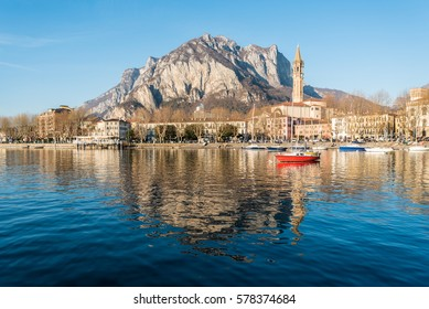 LECCO – 22 JANUARY 2017: A beautiful Sunday afternoon in Lecco on Lake Como, Italy