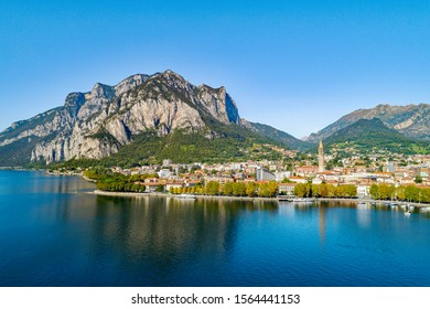 Lecco (IT) - Panoramic aerial view of the city
