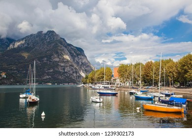 Lecco (Italy) 08/26/2013 - Lakefront of the city of Lecco (Lake Como)