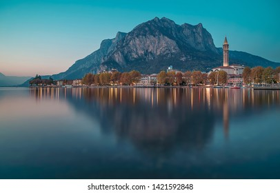 Lecco, Italy - 11 05 2015: Long exposure shot of the city of Lecco on Lake Como during the blue hour in autumn