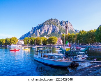 LECCO, ITALY - AUGUST 26, 2018: Boats in the port of Lecco on the Lake of Como.