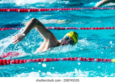 LECCO  (ITALY) - FEBRUARY 19:    Mattia Schirru  ( Italy) performing  200 mt freestyle in Italian  Swimming Meeting  on February   19, 2015  in Lecco ( Italy).