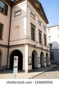 LECCO, ITALY - FEBRUARY 20, 2019: Teatro della Societa (Theatre of Society) on square Piazza Giuseppe Garibaldi in Lecco city, Lombardy. The Theater was inaugurated in1844