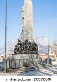 LECCO, ITALY - FEBRUARY 20, 2019: War memorial Monumento ai Caduti (Memorial to the Fallen) on waterfront Lungolario Isonzo in Lecco town. The Monument was built in 1922 -1926 by Giannino Castiglioni