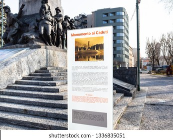 LECCO, ITALY - FEBRUARY 20, 2019: sign of War memorial Monumento ai Caduti (Memorial to the Fallen) on waterfront Lungolario Isonzo in Lecco. Monument was built in 1922 -1926 by Giannino Castiglioni