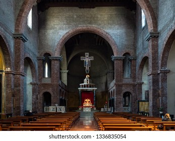 LECCO, ITALY - FEBRUARY 20, 2019: visitor inside of church Santuario di Nostra Signora della Vittoria (Basilica of Our Lady of Victory) in Lecco city.