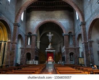 LECCO, ITALY - FEBRUARY 20, 2019: tourist inside of church Santuario di Nostra Signora della Vittoria (Basilica of Our Lady of Victory) in Lecco city.