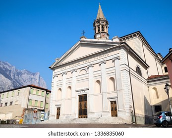 LECCO, ITALY - FEBRUARY 20, 2019: view of Minor Basilica of San Nicolo in Lecco city, Lombardy. Lecco is city in Lombardy, the capital of the province of Lecco