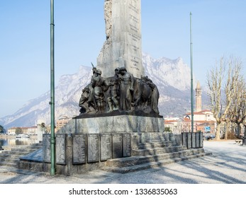 LECCO, ITALY - FEBRUARY 20, 2019: War memorial Monumento ai Caduti (Memorial to the Fallen) on waterfront Lungolario Isonzo in Lecco city. The Monument was built in 1922 -1926 by Giannino Castiglioni
