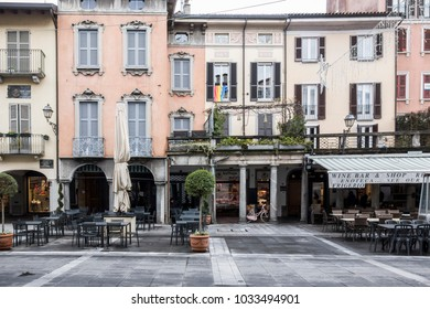 LECCO, ITALY- JANUARY 10,2018: Street view, historic center,square,piazza XX settembre in Lecco, Italy.