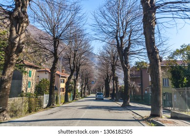 Lecco, Italy - March 21, 2018: Street in Lecco city on Como Lake , Lombardy, Italy