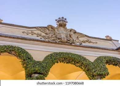 Lecco, Italy-April 1, 2018: Arch with creeper decoration in the famous Villa del Balbianello at Lecco, Lombardy