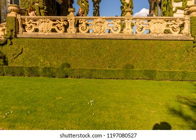 Lecco, Italy-April 1, 2018: Balcony with creeper decoration in the famous Villa del Balbianello at Lecco, Lombardy