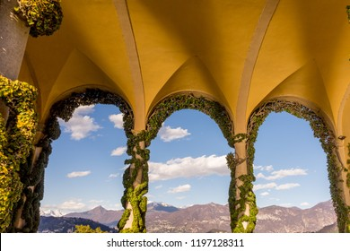 Lecco, Italy-April 1, 2018: Balcony Arch with creeper decoration in the famous Villa del Balbianello at Lecco, Lombardy