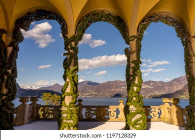 Lecco, Italy-April 1, 2018: Balcony Arch with creeper decoration in the famous Villa del Balbianello at Lecco, Lombardyi