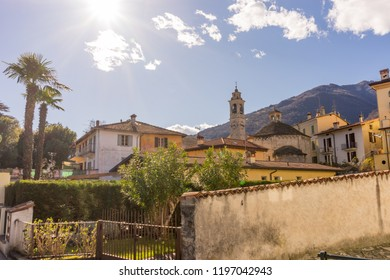 Lecco, Italy-April 1, 2018: Church with clock tower at Lecco, Lombardy
