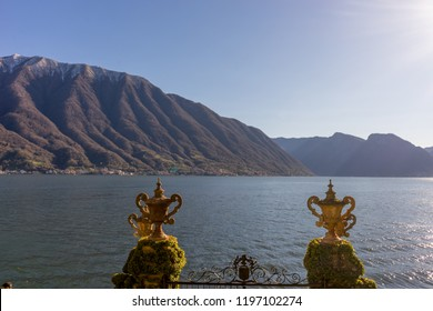 Lecco, Italy-April 1, 2018: Cups overlooking Lake Como in the famous Villa del Balbianello at Lecco, Lombardy