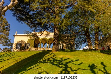 Lecco, Italy-April 1, 2018: Garden in the famous Villa del Balbianello at Lecco, Lombardy