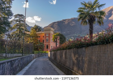 Lecco, Italy-April 1, 2018: path leading to a villa at Lecco, Lombardy