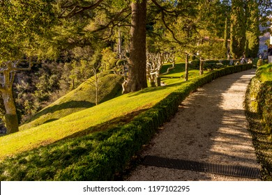 Lecco, Italy-April 1, 2018: People in garden of the famous Villa del Balbianello at Lecco, Lombardy