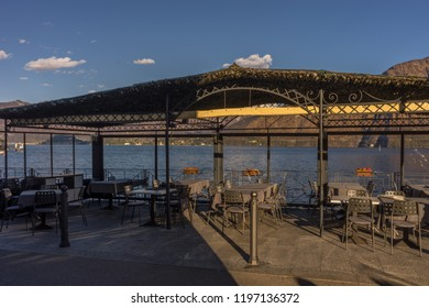 Lecco, Italy-April 1, 2018: Restaurant overlooking lake como at Lecco, Lombardy