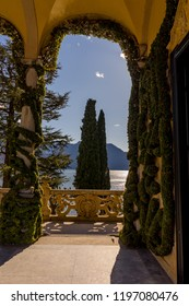 Lecco, Italy-April 1, 2018: Scenic balcony overlooking Lake Como in the famous Villa del Balbianello at Lecco, Lombardy
