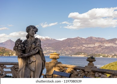 Lecco, Italy-April 1, 2018: Statue at famous Villa Del Balbianello at Lecco, Lombardy