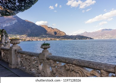 Lecco, Italy-April 1, 2018: Statue overlooking lake como in the famous Villa del Balbianello at Lecco, Lombardy