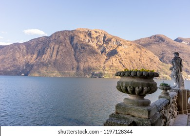Lecco, Italy-April 1, 2018: Statue in the famous Villa del Balbianello at Lecco, Lombardy
