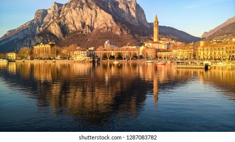Lecco at sunset