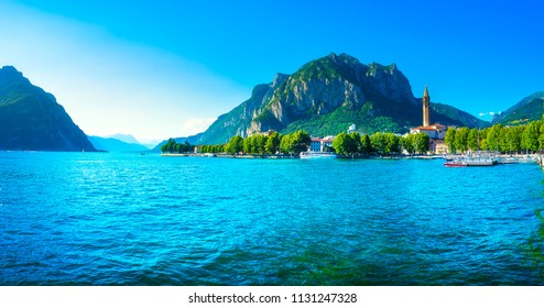 Lecco town in Como lake district. Italian traditional lake village. Italy, Europe.