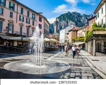 Lecco,Lombardy,Italy-03 August 2014: The fountain in the Centre of Lecco